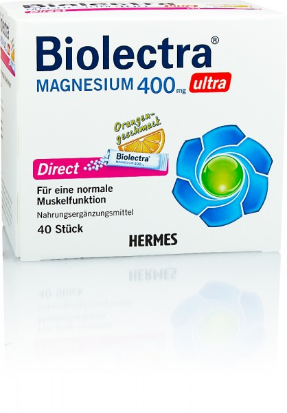 BIOLECTRA MAGNESIUM 400mg ULTRA DIRECT GRANULAT ORANGENGESCHMACK STICKS 40St